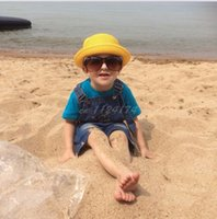 baby panama hat - 2016 Kids Hat With Fashion Straw Hats Summer Baby Ear Decoration Lovely Child Character Girls And Boys Sun Hat Solid Children Floppy Panama