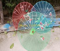 Shade bamboo for shade - 50pcs Wedding Party Hand painted Flowers colorful silk Cloth parasol Clear Chinese handicraft umbrella For children Adult