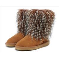 al por mayor visón mosaico-Mink Botas para el cabello zapatos Faux Fur nieve señoras Mid-Calf zapatos para mujer Botas con remiendo para las mujeres