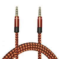 Wholesale 3 mm Audio Aux Fabric Braided Cable Male Male M Stereo Car Nylon Cord for Iphone plus Mobile Phone Speaker Tablet PC Ipod