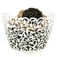 baking cup liners - 50pcs Multicolor Little Vine Lace Laser Cut Cupcake Wrapper Liner Baking Cup Wedding Birthday Tea Party Home Decoration Tools