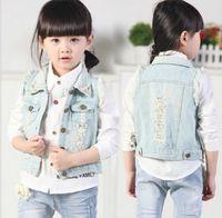 Wholesale Collared Military Vest - HOT! 2016 Summer Girls Beading Broken Wash Denim Waistcoat Kids Clothing Flower Lapel Collar Tank Jeans Tops Korean Kid's Vest Outwear KB474