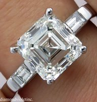 asscher setting - GIA CT ESTATE VINTAGE ASSCHER CUT DIAMOND ENGAGEMENT WEDDING RING PLATINUM