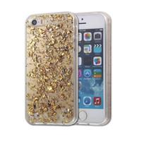 Caso para el iPhone 5 / 5s / SE TPU transparente 3D platino Bling brillo fantasía Shiny CoverSkin para iphone5 / 5S / SE caso Opp paquete