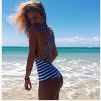 Wholesale 2016 European and American fashion style Siamese navy striped swimsuit bikini black fashion