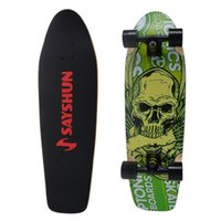Wholesale SAYSHUN Green Skull Complete Skateboard for Beginners and Professional quot Cruiser Board