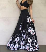 Wholesale 2016 Summer Cartoon Printed Mickey Shorts For Women Cotton Maxi Skirt A Line Casual Ladies Long Skirt Saias Faldas
