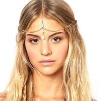 Wholesale JECKSION Multilayer Chain Jewelry Headband Head Shell Hair Band Headpiece Gold