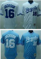 Wholesale Bo Jackson Jersey Kansas Royals Jersey Throwback Baseball Jersey White Blue Top Quality