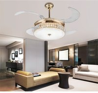 Wholesale LED crystal folding fan lamp crystal ceiling light modern minimalist living room dining room bedroom ceiling fan lights inch