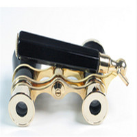 Wholesale Brand New lady gift x25 Coated Lens Telescope Black Prismaticos Theater Opera Glasses Binoculars with Hand