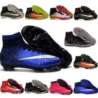 Wholesale Mens cr7 superfly soccer cleats hypervenom phantom football boots mercurial superfly fg turf soccer shoes neymar boots high top indoor shoes
