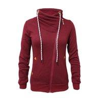 achat en gros de tirette col roulé sweatshirt-Nouveau mode 2016 Automne Hiver chaud Zipper Up Femmes Hoodies Sweatshirts Incliné Zipper Manteaux Turtleneck Femmes Sudaderas Outwear