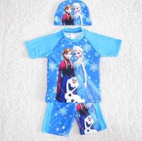 Wholesale Hot sale Cartoon Fariy Princess Print Tabkinis summer Two pieces Kids Swimwear Pro elastic kid Set tops shorts caps Trajes sets