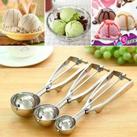 Wholesale 4CM CM CM Kitchen Ice Cream Mash Potato Scoop Stainless Steel Spoon Spring Handle Kitchen Accessories New Arrival