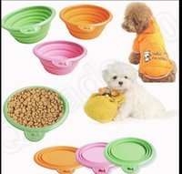 Wholesale KKA200 Collapsible Folding Silicone Dog Pet Cat Travel Water Food Bowl Dish Feeder Grade Fold Pet Bowl Folding Dog Bowl Pet Dish