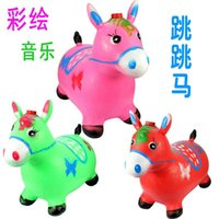 Wholesale Children inflatable horse jumping horse inflatable toys children s music and dance jumping red deer red deer increased thickening