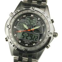 alarm dual car - car WM005 ESS ESS Brand Men s Analog Digital Alarm Black Dial Stainless Steel Sport Quartz Dual Watch