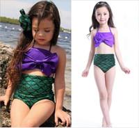 Wholesale Mermaid Swimwear Swimsuit Baby Girls Bikini Swimsuit Ruffle Bow Princess Two Pieces Swimwear Cute Clothing Kids Swimwear For Girls
