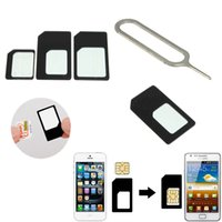 Wholesale NEW In for Nano Micro Standard SIM Card to SIM Card Adapter Converter For iPhone For Nokia with Eject Pin Handling needle