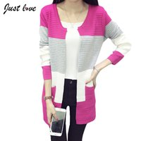Wholesale Fashion Hot Autumn Winter Women Loose Striped Knitted Cardigan Ladies Casual Sweater Poncho Coat Plus Size Colors