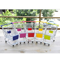 Wholesale Novelty Mini Shopping Cart Style Storage Basket Desktop Organizer Random Color