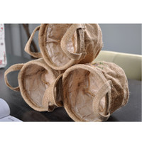 Wholesale 1pc pack Waterproof Jute round Storage Bucket without lining natural jute color CM Toy Storage bag flower pot