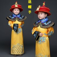 ancient clothes - Cheap Mens Children ancient Costume Boy little emperor robes suits Qing Dynasty Prince Man traditional clothing