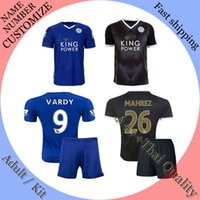 Wholesale Excellent quality Leicester City jersey Set blue black soccer jerseys VARDY KRAMARIC OKAZAKI ULLOA football jerseys Short
