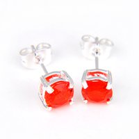 Wholesale prs Lucky Shine Trendy Round Red Kunzite sterling Silver plated stud Earrings