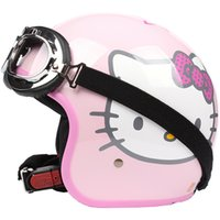 adult motocross helmets - TT Taiwan S Y C Fashion Racing Casque Bicycle Open Face Scooter Casco Motorcycle Gloss Pink Star Lovely Cartoon Helmet UV Goggles Adult