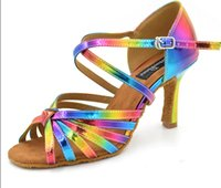 active wedge - Rare color multi color fixed like rainbow design satin Latin ballroom dance shoes for active woman dance ED074