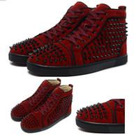 Wholesale Luxury Fashion Mens Red bottom Top designer Skate Shoes women sneakers Wine red matte skin high top sneaker eur36
