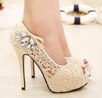 Cheap Sexy wedding shoes 2016 autumn new diamond fish head high heels nightclub fine with shallow mouth single shoes large size shoes
