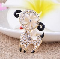 asian lamb - wedding dress brooches lovely Little lamb animal brooch rhinestone alloy Jewelry Breast Pin brand broches scarf buckle corsage pins hot sale