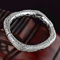 antique gift shop - M2BG0001 Antique Elegant Geometric Piercing Engraving Design Sterling Silver Women Gift Travel Shopping Bracelet Bangle