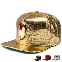 Unisex adjustable iron golf - Lovely Men Women PU Leather hip hop hats Diamond Crocodile Grain Golden Rhinestone iron man Logo baseball caps Golf Gorras Snaoback