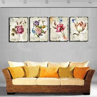 Cheap ome Decor Painting Calligraphy 4 Pieces Classic Floral Canvas Prints Flower Art Pictures Combination Home Interior Decorative Painting fo...