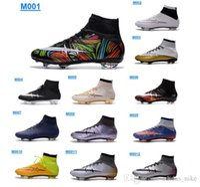 Wholesale Men s Mercurial Superfly FG Soccer Shoes CR7 Cleats Shoes Laser New Arrive Colours Men Soccer Shoes Football Boots