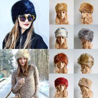 Wholesale Cheap Faux Fur Winter Hat Cap Ladies Evening Party Flat Beanies Hats Women Winter Warm Skull Caps Skiing Earflap Caps CJF0927