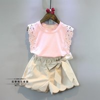 beautiful summer tops - 2016 Baby girl kids Summer Clothes piece set outfits Lace hollow crochet tops shirt vest blouse Beige shorts pants Bowknot Beautiful