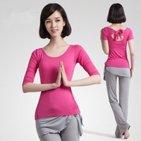 Wholesale Women girl s Sportswear Yoga Running Sets with Bow Back shirt and Pants Elasticity Girl Lady Fitness Clothing Workout For