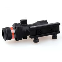 airsoft acog scope - Tactical Trijicon ACOG Style X32 Hunting Real Fiber Optic Red Illuminated w Weaver Rail RMR Red Dot Scope For Air Gun Airsoft