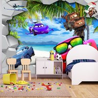 Cartoon Wallpaper 3D Cars Wall Mural Beach Photo Wallpaper Art Interior  Decoration Kids Boy Bedroom Living Room Office Blue Sea Wallpaper