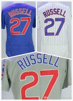 Wholesale Cheap Mens Addison Russell Jersey New Chicago Baseball Jerseys Stitched Logo Blue Grey White Size S XL