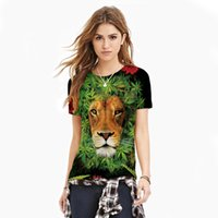 american lion size - New American Apparel Women T Shirt Hemp leaf lion Digital Printing Tops Sport Women Tees Plus Size WT