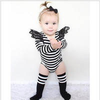 baby brands list - New listing autumn models girl baby cotton long sleeved lace striped Jumpsuits Romper climbing clothes