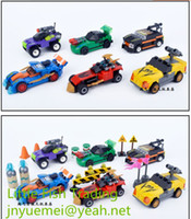 Wholesale total cars sets kids toys Children s Day boy puzzle assemblage plastic building blocks race car splice intelligence game roadblock emitter