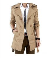 Wholesale 2016 Spring And Autumn Trench Coat Men Double Breasted Trench Men s Outerwear Casual Coat Mens Overcoat Mens Trench Coat Windbreaker