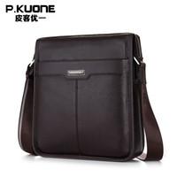 bags brifcase - New Men s Bags Famous Brand Genuine leather Men Messenger Bag Business Man Shoulder Bag Brifcase for iPad Color Black Brown